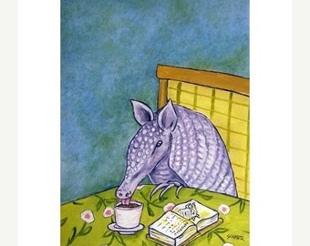 Aarmadillo at the Coffee Shop Art Print