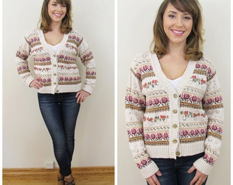 90s Heirloom Collectibles Beige Pink Floral Cardigan Sweater, Size Medium to Large