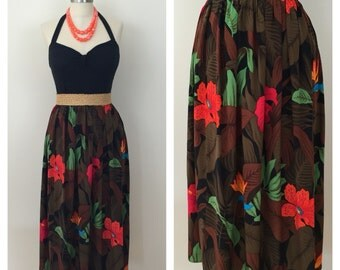 90s Linda Allard for Ellen Tracy Brown Tropical Print Silk Midi Skirt, Size Medium to Large