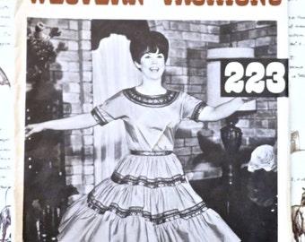 Vintage 1960s Square Dance Dress Pattern = Authentic Patterns Inc 223