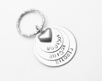 Custom Keychain - Hand Stamped 3 Layer Keychain - Grandma gift - Engraved Keychain - Keychain for Dad - Graduation gift - Mommy Keychain