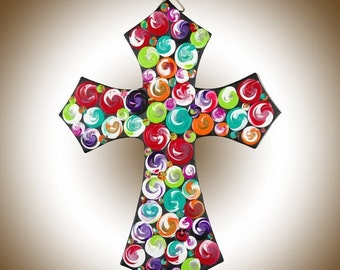 """12"""" hand paint wood Cross wall decor wall hangings religious home decor Acrylic Impasto swirls  signage """"Cross I"""" by QIQIGallery"""
