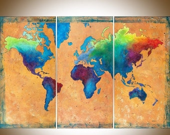 "Hand paint vintage Map painting mixed medium acrylic Impasto heavy texture wall art canvas art ""World Map"" by QiQiGallery-Made To Order"