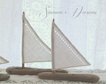 Custom Add-On Driftwood Sailboats for Baptism Bomboniere Favors Made with Vintage Textile Sails