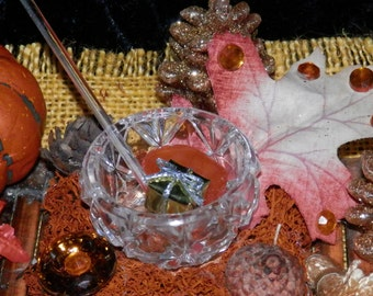 HARVEST Offering Altar BOWL Bohemian Glass with SPOON, Fairy, Pagan, Wicca