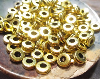 50% Off Beads, Metal Spacers, 50 pcs Antique Gold Rondelle Beads, 3x6mm with a 2.5mm hole, large hole bead  MB1067 F16