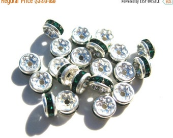 Summer SALE 10 Green Rhinestone Silver Plated Spacer 5x2mm Rondells MB 217