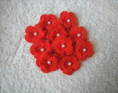 Crochet Double Layered Red Flower Embellishments with pearls set of 10