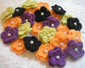 Crochet Flowers Halloween Themed set of 25 double layered with pearls