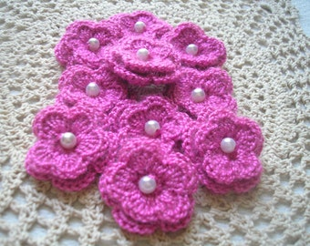 Crochet Double Layered Flowers set of 10 in Rose Acrylic