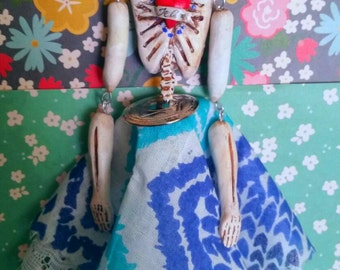 Frida Kahlo day of the dead ornament hand sculpted by southern artist Sherry Westfall Matthews