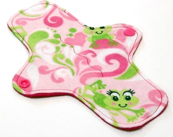 """Reusable Cloth winged ULTRATHIN Pantyliner - 8 Inch in """"Girly Frogs"""" - Cotton Flannel top"""
