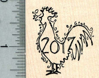 Year of the Rooster Rubber Stamp, 2017 Chinese Spring Festival E31031 Wood Mounted