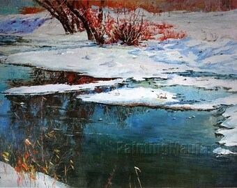 When the Snow is Smelt the Spring is coming - Original hand-painted oil painting, Winter Snow Brook Scene, Living Room Wall Art Decorations