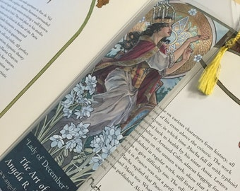 Bookmark with Tassel Lady of December Art Nouveau Saint Lucia Candle Crown Turquoise Birthstone and White Narcissus Birth Flower