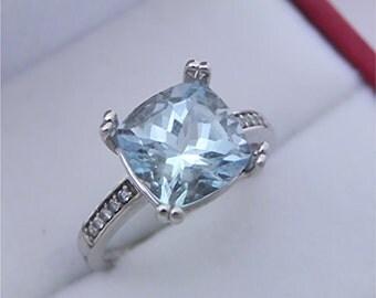 AAAA Santa Maria Blue Aquamarine Cushion cut   9x9mm  2.36 Carats  14K white gold Engagement Ring set with .25 carats of diamonds 0731