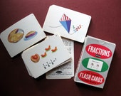 Vintage Fractions Flash Cards by Whitman, 43 Cards, Illustrations, Numbers, for Mixed Media, Collage, Tags, Scrapbooking