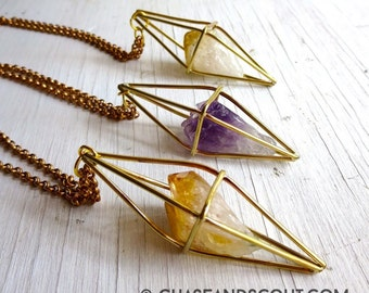 Citrine Necklace, Brass Geometric Caged Crystal Necklace, Boho Gypsy Citrine Necklace, Handmade in my Austin Studio, Geometric Necklace