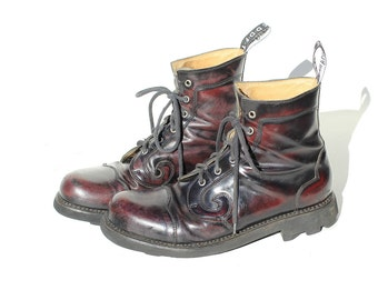 Size 11.5 Men's Burgundy Leather Swirl Rub off Combat Boots