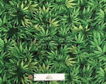 """15"""" Remnant CANNABIS LEAF Green Black Cotton Quilt Fabric  Pot Weed Marijuana 420 Smoke Medicinal Use Only"""