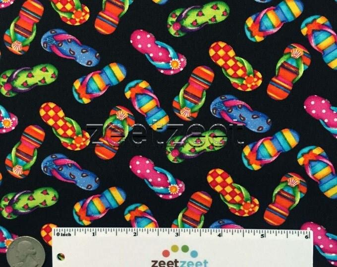 FLIP FLOPS BLACK Multi Printed Cotton Quilt Fabric Yard, Half Yard, or Fat Quarter Fq Summer Beach Kid's Fabric Sandals