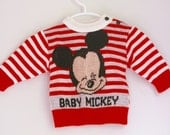 Vintage Baby Mickey sweater 3 to 6 months boy or girl vintage disney