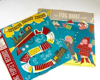 Vintage Young People's Records graphics fog boat chugging freight train