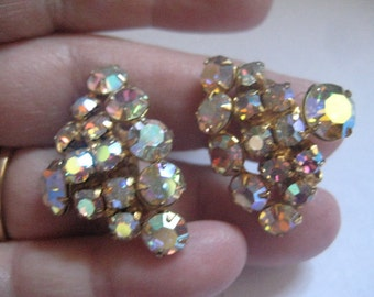Continental Crystal AB Rhinestones in a Pyramid Shape in Gold Plate Metal