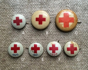 antique 1910s - 20s Red Cross pinback | pick your favorite
