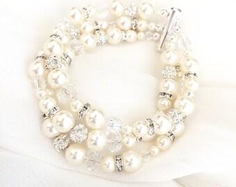 Wedding Bracelet, Bridal Bracelet, Pearl Wedding Bracelet, Wedding Cuff, Pearl Rhinestone Crystal Statement Bracelet, 3 strand bracelet