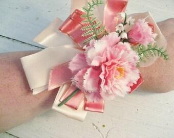 Vintage Pink Floral Wrist Corsage