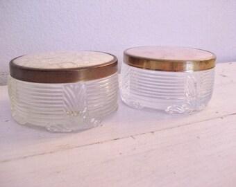 Pair of Vintage Glass Art Deco Style Powder Jars- Storage, Display, Boudoir Decor