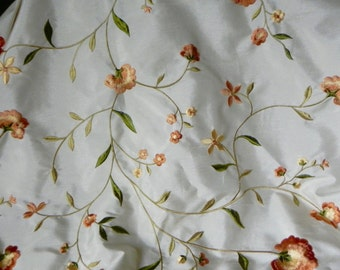 Two vintage curtain drapes panels 28 inches wide x 86 inches long floral green peach yellow on white background