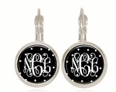 Monogram Earrings, Polka Dots, Black and White, Personalized Gift, Initial Jewelry, Glass Dome (Black and White Polka Dots)