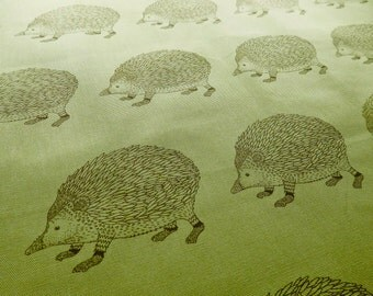 Hedgehog Fabric, Sage Green Hedgie Drawing Sketch Illustration Oxford Cloth Cotton Fabric Remnant in Sage Green - 60 cm, Army green, brown