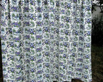 Vintage Purple Green Drapes Curtains Upholstery Fabric Cottage Floral Landscape Cotton Novelty Mid Century
