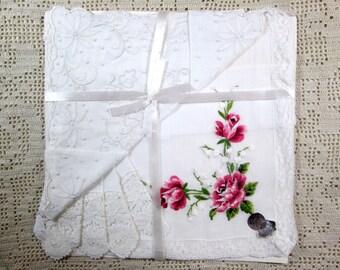 Vintage Handkerchief Set Pink Roses Wedding Bridal Lace Swiss Hankies MWT Mint Tag