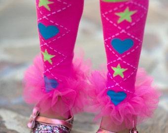 "Ruffle Tutu Leg Warmers - Hearts, Starts Pink Ruffle Tutu Leg Warmers Perfect for Birthday Party, Photo Prop, holida gifts appros 10"" Lng"