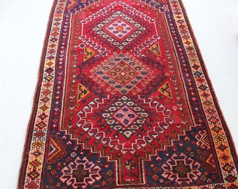Authentic Moroccan Woven Area Rug Red, Yellow, Pink, Blue - 6.5 feet x 3.5 feet