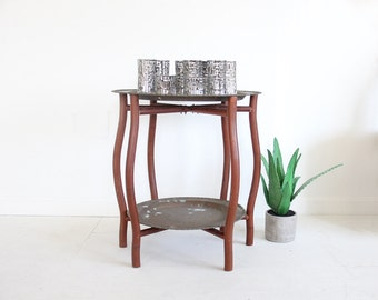Brass & Teak Tray Table / Bar Cart / Plant Stand