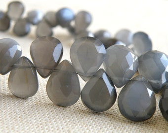 Grey Moonstone Gemstone Briolette Faceted Pear Teardrop 7 to 9mm 27 beads 1/2 strand