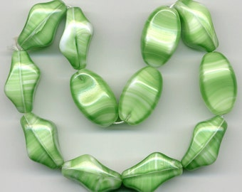 Vintage Green & White Beads 24mm Opaque Glass Unusual Shape 12 Pcs.