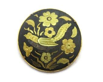 Bird Brooch - Damascene, Gold Inlaid Steel, Costume Jewelry, Toledo