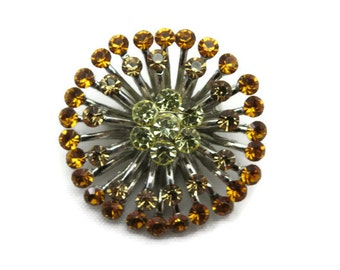 Costume Jewelry Rhinestone Brooch - Starburst, Orange, Yellow