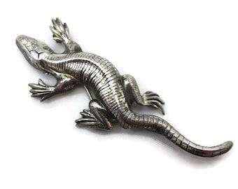Sterling Lizard Brooch - Silver, Southwestern