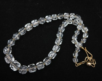 Rock Crystal Necklace - Faceted Beaded Quartz Jewelry Art Deco, Simmons Jewelry, 12k Gold Fill