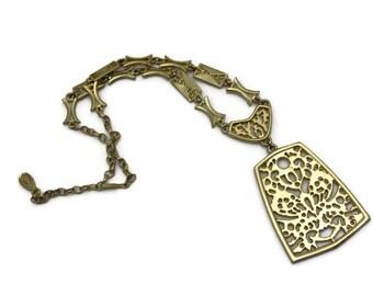 Vintage Pendant Necklace - Long Gold Boho, 1970s