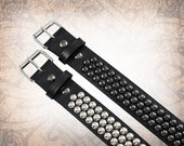 Dome Stud Belt - Wide Steel - Studded Leather Belt, Studded Belt, Leather Belt, Mens Leather Belt, Belt- Custom to You (1 cuff only)