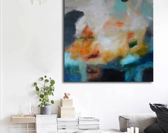 Blue and gold painting on canvas, abstract art, orange yellow blue painting, lobby art, office painting, living room art, square painting