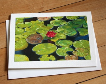 Lily Pad Greeting Card, Blank Greeting Card, Note Card, Art Card, Any Occasion, Birthday Card, Painting, Summer, Pond, Envelope, Realism